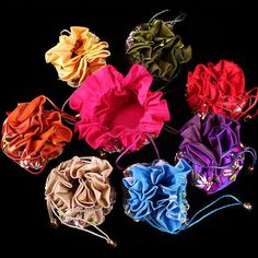 Wholesale Multicolor Chinese Handmade Silk Cosmetic Bag Purse Pouch New Favor Bags, Gift Bags, Embroidered Flowers, Silk Satin, Cosmetic Bag, Color Mixing, Purses And Bags, Favors, Pouch