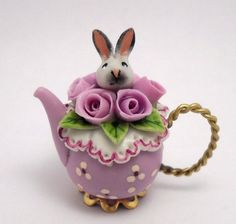 1/12TH scale  romantic bunny among the roses teapot by by 64tnt