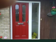 2 Panel 2 Arch Glazed Composite Front Door in Red