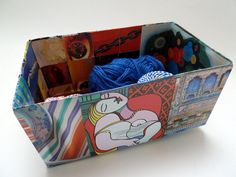 Ecofriendly storage box, organizer, art collage, paper collage, gift idea, one of a kind, decoration, sky blue, magenta, scarlet, Picasso.