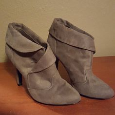FEAX SUEDE BOOTIES Brand new feax suede booties, never worn, 4 inch heel, size 7. Charlotte Russe Shoes Ankle Boots & Booties