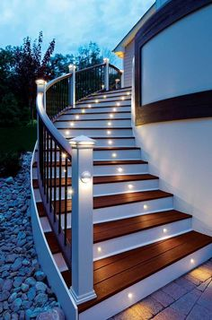 Energy efficient LED stair lights by Trex Deck Lighting. Looks good and serves a great purpose. Led lighting is bright and uses much less energy then the regular lights people are used to.