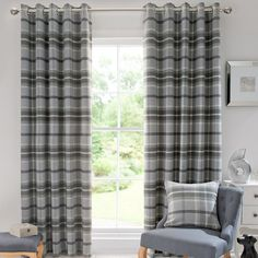 Dove Grey Highland Check Curtain Collection | Dunelm