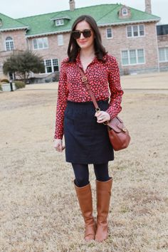 Wake Up Your Wardrobe What I Wore: One Love Heart Blouse, Navy Skirt, Tory Burch Riding Boots, Navy Tights, Karen Walker Super Duper, Coach Crossbody Purse, Coral Lipstick