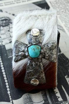 Chunky Soldered Cross Cuff with Turquoise Centerpiece