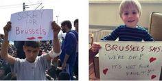 """Gisteren dook een opvallende foto op van een gevluchte Syrische jongen aan de Grieks-Macedonische grens. Die hield een blad omhoog met de boodschap """"Sorry for Brussels"""". VRT Nieuws-journalist Riadh Bahri heeft een foto gedeeld waarop een Brusselse peuter een hartverwarmend antwoord geeft op die boodschap."""