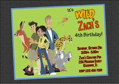 Custom Wild Kratts Birthday Party Invitations