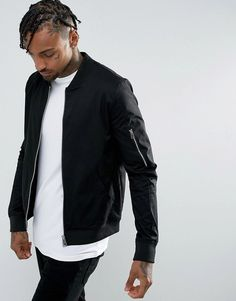 Order ASOS DESIGN muscle fit bomber jacket with sleeve zip in black online today at ASOS for fast delivery, multiple payment options and hassle-free returns (Ts&Cs apply). Get the latest trends with ASOS. Asos, Black Bomber Jacket, Leather Jacket, Bomber Jackets, Uni Outfits, Mens Back, Revival Clothing, The Right Man, Fashion Night