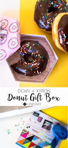Create this easy donut box using DCWV cardstock, Xyron adhesive and your Cricut machine. This super cute Cricut donut box is sure to please the recipient and you cause of course you have to buy more donuts than necessary. Easy Craft Projects, Craft Tutorials, Paper Folding Crafts, Paper Crafts, Diy Donuts, Doughnuts, Donut Gifts, Donut Decorations, Quick And Easy Crafts
