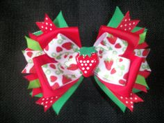 Strawberry Fields 4 inch boutique bow, strawberry hairbow via Etsy
