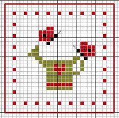 Garden Biscornu • 3/4 Chart for Watering Can – make 5