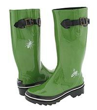 kate spade green riley rain boots...  from 2007.  one white bug on each boot. I had to own a pair when I saw them at bloomies.  they are fun and green is my favorite color. love at first sight!