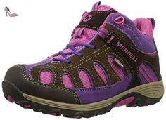 Merrell - Cham Mid Lc WTPF - Chaussure de randonnée - Montante - Garçon - Multicolore (Brun/Rose) - 30 EU - Chaussures merrell (*Partner-Link)