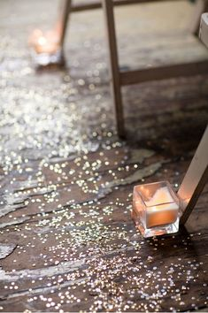 sparkly aisle with sequence and glitter! the sparkles and candles would look awesome in our backup ceremony location if it rains!