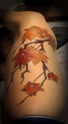 Jeff Norton Tattoos - Maple leave branch - 99243