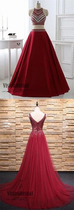 Dark Red Halter Two Pieces With Beaded Floor Length Prom Dress, Charming Prom Dress, Prom Dresses, Classy Prom Dresses, Grad Dresses Long, Prom Dresses With Pockets, Prom Dresses Two Piece, Dresses Short, Pink Prom Dresses, Unique Dresses, Cheap Prom Dresses, Pretty Dresses