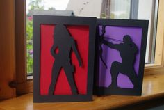 Black Widow or Hawkeye Silhouette Card by IceCapsicle on Etsy, £4.00