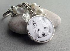 Westy Beaded Key Ring Pet Drawing Pet Gift Westy by jsPetART