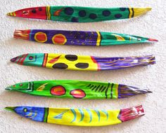 Tropical Fish on Palm Seed Pod (Buy 3 Get 1 Free) Hand Painted: Palm Tree Crafts, Palm Tree Decorations, Palm Frond Art, Palm Fronds, Palm Tree Leaves, Palm Trees, Tropical Art, Seed Pods, Beach Crafts