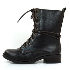Amato Brown Laced Up Combat Boots
