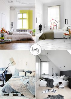 no bed frame, low bed... This is what I want!!!! Love the one on the bottom left it looks soo comfy