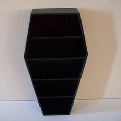 Black coffin Shelves/ Craft show display/ Black Display shelves/ collectible display/ gothic display shelves/ jewelry display/ crafter shelf by LightlySeasoned on Etsy https://www.etsy.com/au/listing/222731640/black-coffin-shelves-craft-show-display