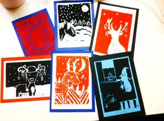 Jouluiset press print -työt. Kuvista voi tehdä esim. joulukortit tai taulut.