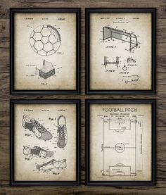 Vintage Soccer Patent Print Set Of 4 - Football Pitch - Soccer Ball - Boot - Goal - Net Design - Set Of Four Prints #835 - INSTANT DOWNLOAD