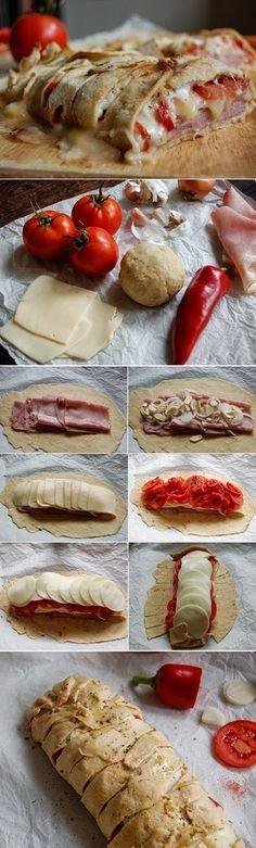 exPress-o: Stromboli + 5 min. Italian pizza dough - exPress-o: Stromboli + 5 min. Food Porn, Antipasto, Pizza Dough, Food Inspiration, Italian Recipes, Love Food, Food To Make, Delish, Food And Drink