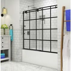 Delta Classic 400 Curve 60 in. x 62 in. Frameless Sliding Tub Door in Stainless-B55910-6030-SS - The Home Depot Shower Alcove, Bathtub Shower Combo, Bathtub Alcove, Bathroom Tub Shower, Shower Tiles, Frameless Sliding Shower Doors, Glass Shower Doors, Tub Glass Door, Black Tub