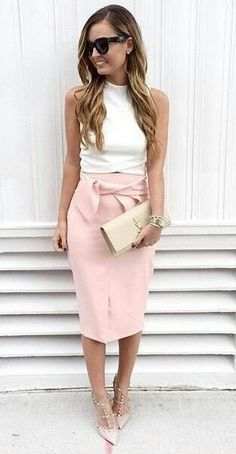 Girly work outfit... Love the pink skirt!