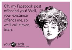 Oh, my Facebook post offended you? Well, your existence offends me, so we'll call it even, bitch.