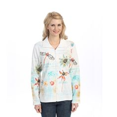 "Jess & Jane Cotton Jacket Rhinestone Zipper ""Botanica"" in White"