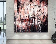 Apartment Decor Original Art Artwork Acrylic Painting | Etsy Free Canvas, Large Canvas Art, Large Painting, Original Paintings, Original Art, Oversized Wall Art, Painting Gallery, Bathroom Wall Art, Extra Large Wall Art