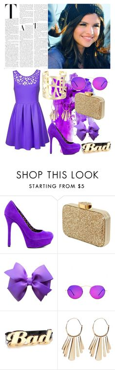 """""""Swaggy Look for Selena Gomez"""" by loveselena22 ❤ liked on Polyvore featuring Jessica Simpson, Lulu Guinness, Oliver Peoples, Melody Ehsani, Lucky Brand, Sole Society, SWAGGY, purple, pretty and selenagomez"""