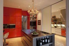 Architecture, Architecture Home Interior Design Contemporary Kitchen Island Cabinets Staircase Bookcase Flat Screen Tv Bottle Of Wine Chande...