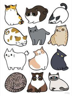 Cute Cat Drawing, Cute Animal Drawings, Kawaii Drawings, Cartoon Drawings, Cute Drawings, Cartoon Cats, Drawings Of Cats, Drawing Art, Drawing Tips