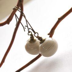 Beige Artisan Glass Earrings hollow light weight long by bstrung, $28.00
