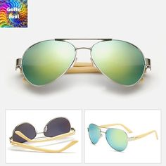 Vintage Gradient Aviator Bamboo Wood Sunglasses