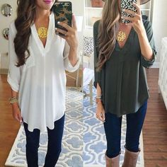Details about Women's Loose Long Sleeve Chiffon V-neck Shirt Fashion Casual Blouse Summer Tops Women& Loose Long Sleeve Chiffon V-neck Shirt Fashion Casual Blouse Summer Tops in Clothing, Shoes & Accessories, Women& Clothing, Tops & Bl. Top Fashion, Fashion Outfits, Womens Fashion, Fashion Trends, Ladies Fashion, Fashion Ideas, Fashion 101, Fashion Black, Trendy Fashion