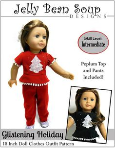 "Glistening Christmas Holiday Outfit 18"" Doll Clothes"