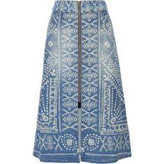SEA Printed denim midi skirt (6.479.755 IDR) ❤ liked on Polyvore featuring skirts, boho skirt, blue skirt, calf length skirts, blue print skirt and calf length denim skirts