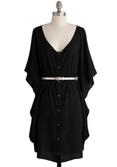 Size XS. NWT. You and Me Forever Dress in Black by Jack by BB Dakota - Black, Solid, Buttons, Ruffles, Casual, Shift, 3/4 Sleeve, Mid-length, Exclusives, Belted, Boho, 70s, 80s, Button Down, V Neck, Variation, Beach/Resort, Summer