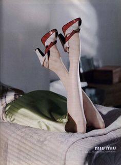 Model: Jenny Vatheuer. Photo: Horst Diekgerdes. Taken from the Miu Miu Fall/Winter 2000 advertising campaign.