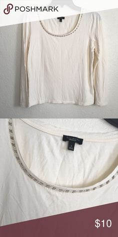 Talbots cream top 3/4 sleeve crew neck top. Embellished neckline. Rayon and lyocell fabric blend. Talbots Tops