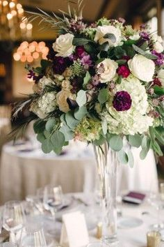 purple and pink elevated centerpiece, tall arrangement formal reception, berry colored wedding from purple jewel toned romantic Riverbend Golf and Country Club Virginia wedding with Kristen Gardner Photographer