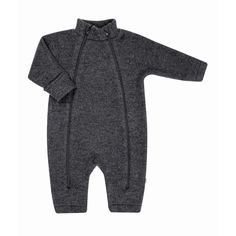Wool overall (100% wool fleece) in dark grey, with two zippers, by Joha from Denmark (available at Lillahopp)