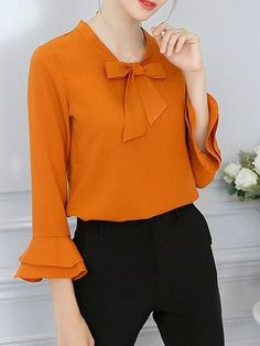 Chiffon Tie-neck H-line Frill Sleeve Blouse Dope Fashion, Hijab Fashion, Fashion Dresses, Blouse Styles, Blouse Designs, Sleeves Designs For Dresses, Camisa Formal, Blouse Dress, Trendy Dresses