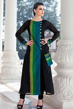 Black Cotton Kurti-WKR1145