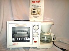 Aroma Breakfast To Go combo 4 cup coffee maker toaster and grill white  #Aroma
